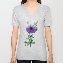 Vintage Purple Morning Glory Unisex V-Neck