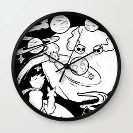 little prince watching the earth from space Wall Clock
