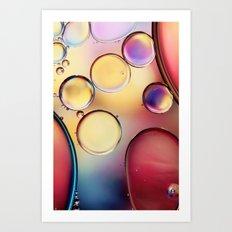 Colourful Oil Drops Art Print