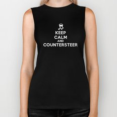 Keep Calm and Countersteer - White Text Biker Tank