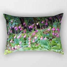 Wild Orchid Lady Slipper Forest Flowers Found in Rhode Island Rectangular Pillow