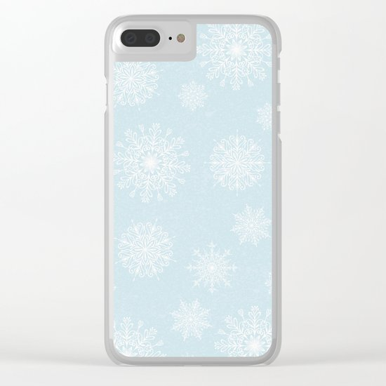 Assorted White Snowflakes On Light Blue Background Clear iPhone Case