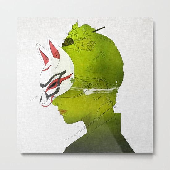 Fox Mask _side face Metal Print
