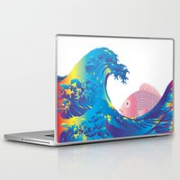 hokusai Laptop & iPad Skins featuring Hokusai Rainbow & Jpanese Snapper  by FACTORIE