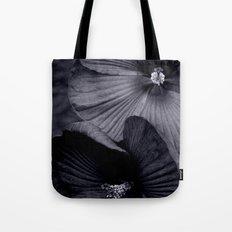 Elegant Pair of Hibiscus Flowers in Deepest Aubergine Monotone Monochrome Tote Bag