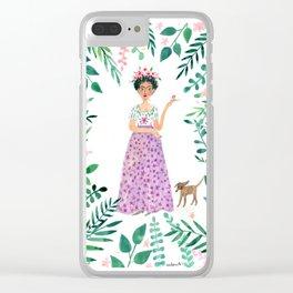 Frida Kahlo(purple skirt) Clear iPhone Case