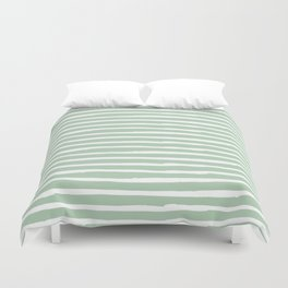 Elegant Stripes Pastel Cactus Green and White Duvet Cover