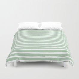 Elegant Stripes Pastel Cactus Green and White Duvet Cover