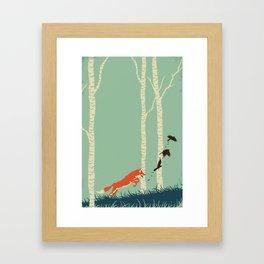 Fox Chasing Birds Framed Art Print