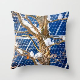 Four Seasons Photosynthesis - Winter. Oak Tree, Snow, And A Solar Power Panel Throw Pillow