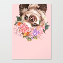 Baby Sloth with Flowers Crown in Pink Canvas Print