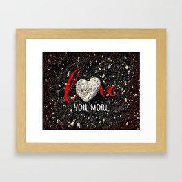 "Coral rock heart on Hawaii black sand | ""Love you more"" Framed Art Print"