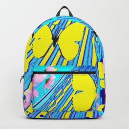 MODERN ART YELLOW BUTTERFLIES PINK FLOWERS BLUE PATTERN Backpack