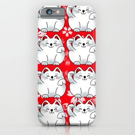 Lucky cat, white maneki with flowers pattern iPhone Case