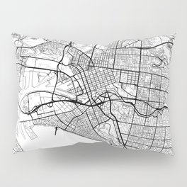 Melbourne Map White Pillow Sham