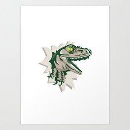 Raptor Head Breaking Out Wall Retro Art Print