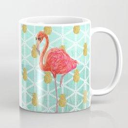 Illustrated Pink Flamingo and Gold Pineapple Design Coffee Mug
