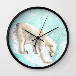 Polar bear on thin ice Wall Clock