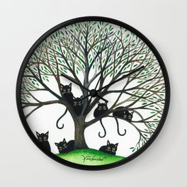Borders Whimsical Cats in Tree Wall Clock