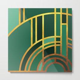 Art Deco Morning Sun In Emerald Metal Print
