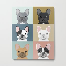 French Bulldog portraits pattern dog person gift love animal pet puppy frenchie bulldog valentines Metal Print