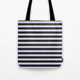 Eyecatching Purple, Black, Dark Olive Green & Mint Cream Pattern of Stripes Tote Bag