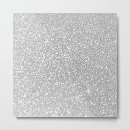 Elegant chic white gray abstract glamorous gradient glitter Metal Print