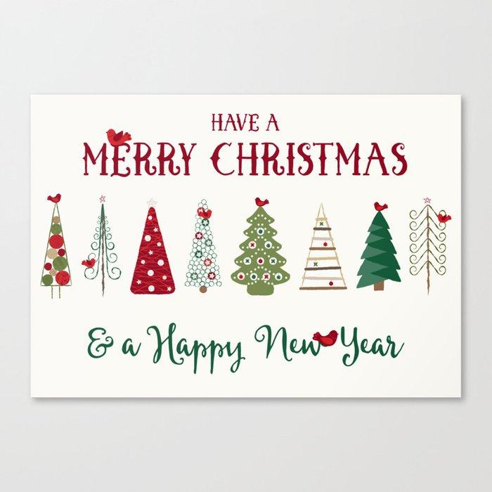 Scandinavian Christmas Trees Pattern - Red Green Leinwanddruck