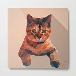 Low poly cat art Metal Print
