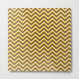 Tribal Chevron (Brown and Yellow) Metal Print