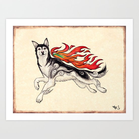 Marukomu Inukami ~ Ōkami inspired husky dog, watercolor & ink, 2015 Art Print