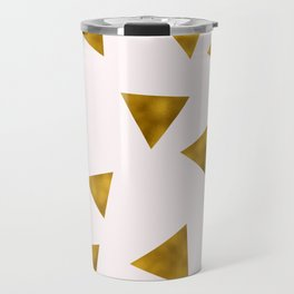 Soft Pink And Rustic Gold Triangles Travel Mug