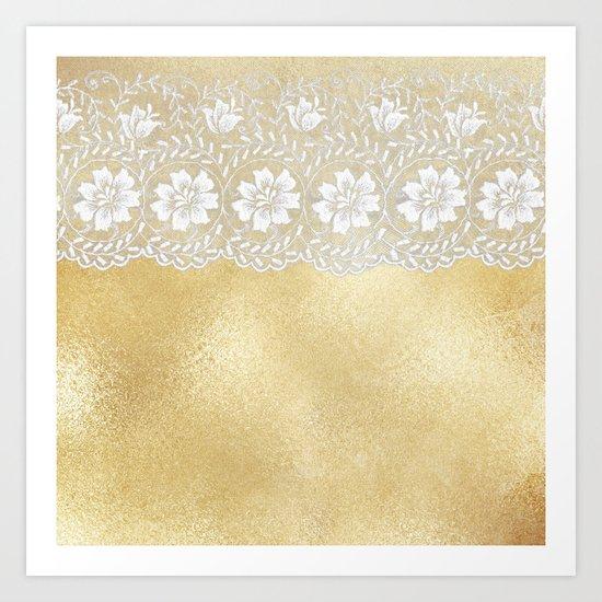 Bridal lace - White floral elegant lace on gold metal backround Art Print