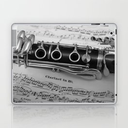 B Flat Clarinet in Black & White Laptop & iPad Skin