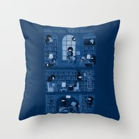 library Throw Pillows featuring Silence in the Library by Anna-Maria Jung