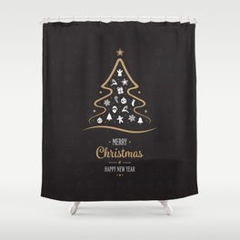 Vintage Black and Gold Christmas Tree Design. Shower Curtain