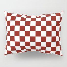 Vintage New England Shaker Barn Red and White Milk Paint Jumbo Square Checker Pattern Pillow Sham
