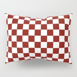 Vintage New England Shaker Barn Red and White Milk Paint Jumbo Square Checker Pattern Pillow Sham