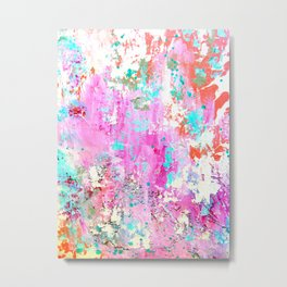 Pink Abstract with Coral Metal Print