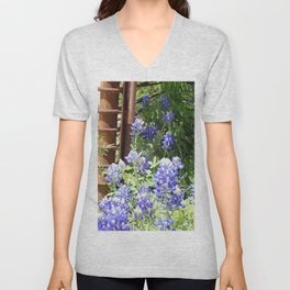 Bluebonnets and rusted fence Unisex V-Neck