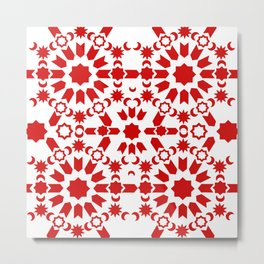 Red Arabesque Metal Print