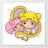 sailormoon Canvas Prints featuring Sailor Moon Princesses by Azul Piñeiro