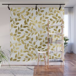 Gold Leaves on White Wall Mural