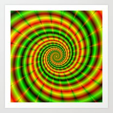 Double Spiral in Green and Orange Art Print