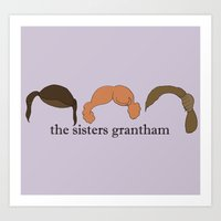 downton abbey Art Prints featuring The Sisters Grantham: Downton Abbey by Illustrated by Jenny