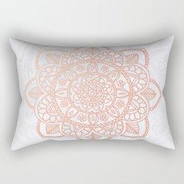 Rose Gold Mandala on White Marble Rectangular Pillow