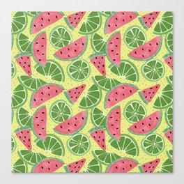 Watermelon Limeade Pattern Canvas Print