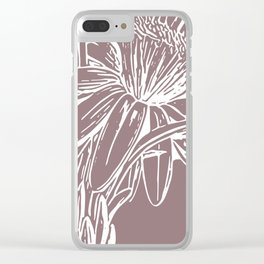 Modern Floral Line Art Drawing in Dusty Plum Clear iPhone Case
