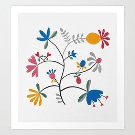 Kurbits – Flower – Blue Bell – Scandinavian Folk Art Art Print