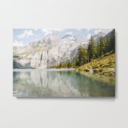 Oeschinensee lake in the mountains, the Alps of Suisse/Switzerland  | Fine Art Colorful Travel Photography |  Metal Print